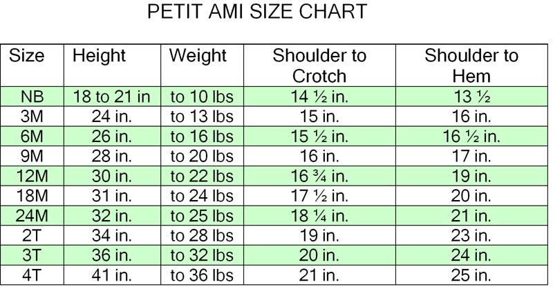 petit ami size chart